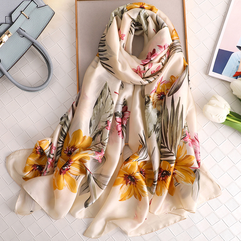 2020 New Silk Scarf Women Fashion Floral Printed Shawls And Wraps Spring Summer Long Pashmina Soft Bandana Foulard Hijab Femme