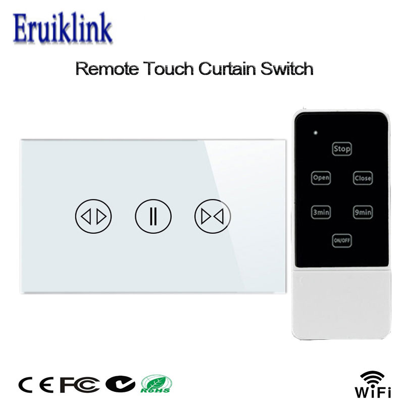 US Standard Curtain Switch Crystal Glass Panel 433mhz Wifi Remote Control Touch Curtain Switches For Dooya