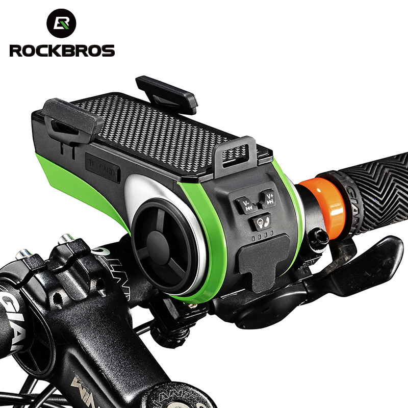 ROCKBROS Bicycle Phone Holder Waterproof Bluetooth Audio MP3 Player Speaker 4400mAh Power Bank +Bicycle Ring Bell +Bike Light bluetooth speaker bicycle music player mp3 player led flashlight power bank portable speakers for cycling gift 8g card