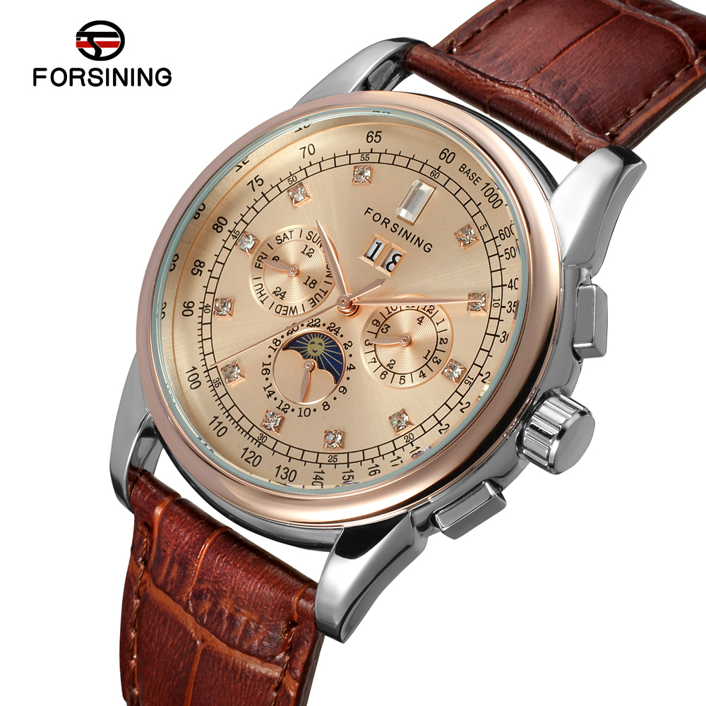 FSG319M3T5 Forsining Automatic self-wind dress champagne color wrist watch with moon phase for men watch with complete calendar все цены