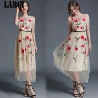LARCI Top Quality Poppy Flowers Dress For Women Sexy Outwear Female Hollow Dress Lady Beach Tank Dress Lady Embroidery N51956