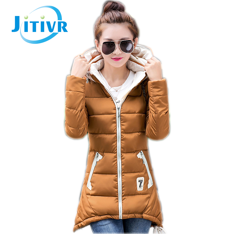 ФОТО 2016 Hot Jitivr Stylish Women's Fangle Long Cotton Padded Hooded Coat Female Thick Slim Faddish Winter Warm Jacket 6 Colors