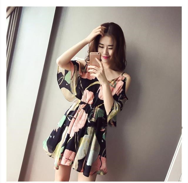 Mr.nut chiffon floral dress summer 2019 new Korean version of the large size strapless small fresh sling shoulder beach dress