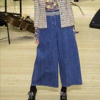 Джинсы женские 2018 осень зима синий выпуклые полосы Широкие Брюки расклешенные джинсы клеш джинсовые брюки, штаны