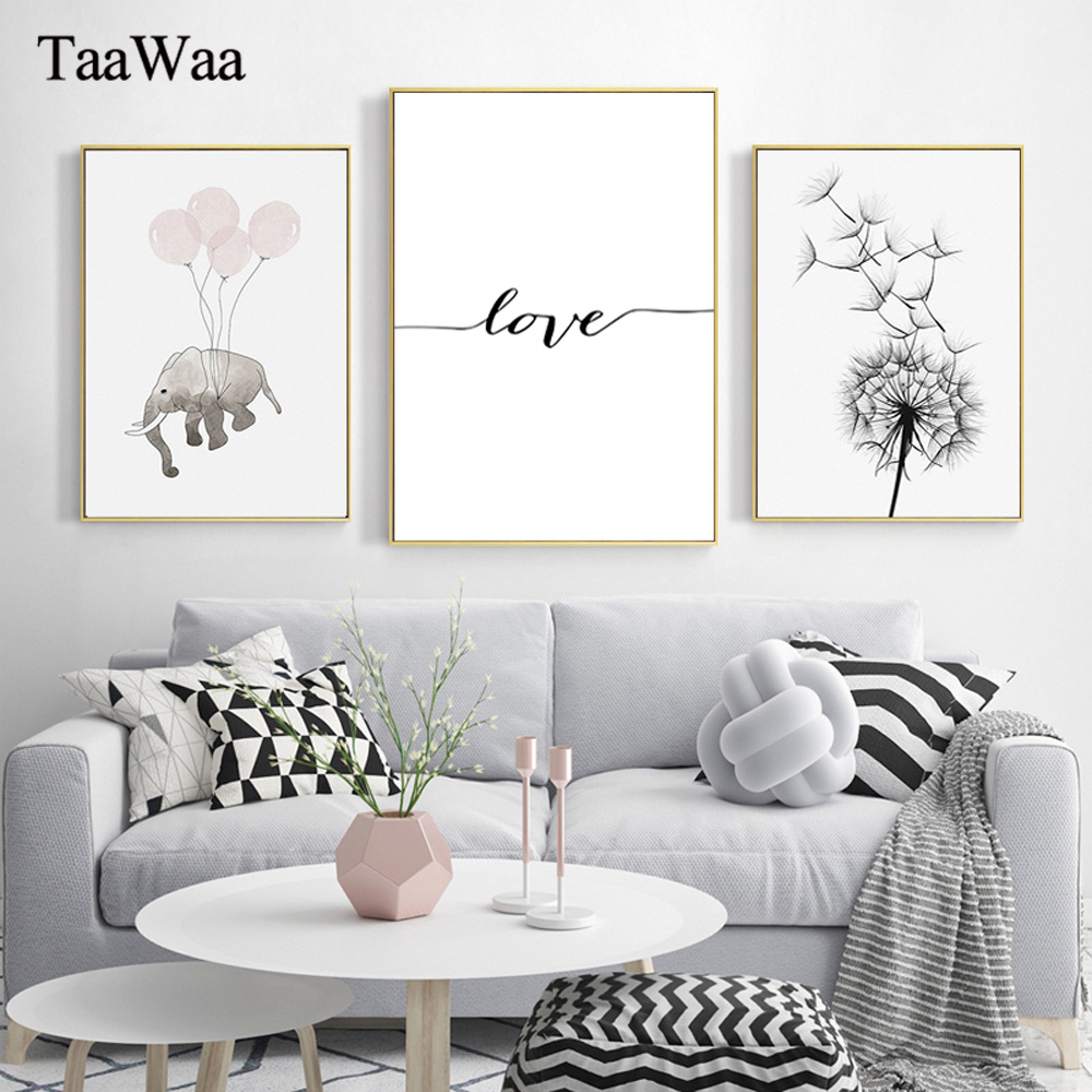 Nordic Animal Canvas Posters And Prints Minimalist Wall Art Painting Balloon Elephant  Dandelion Picture For Living Room Decor