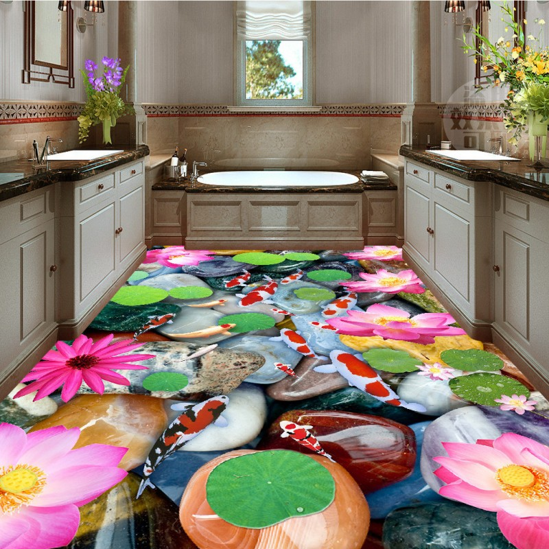 Free Shipping Lotus pebble carpet flooring 3D self-adhesive anti-skidding custom thickened flooring bathroom home decoration free shipping flooring cliff forest bathroom kitchen walkway 3d flooring custom living room self adhesive photo wallpaper