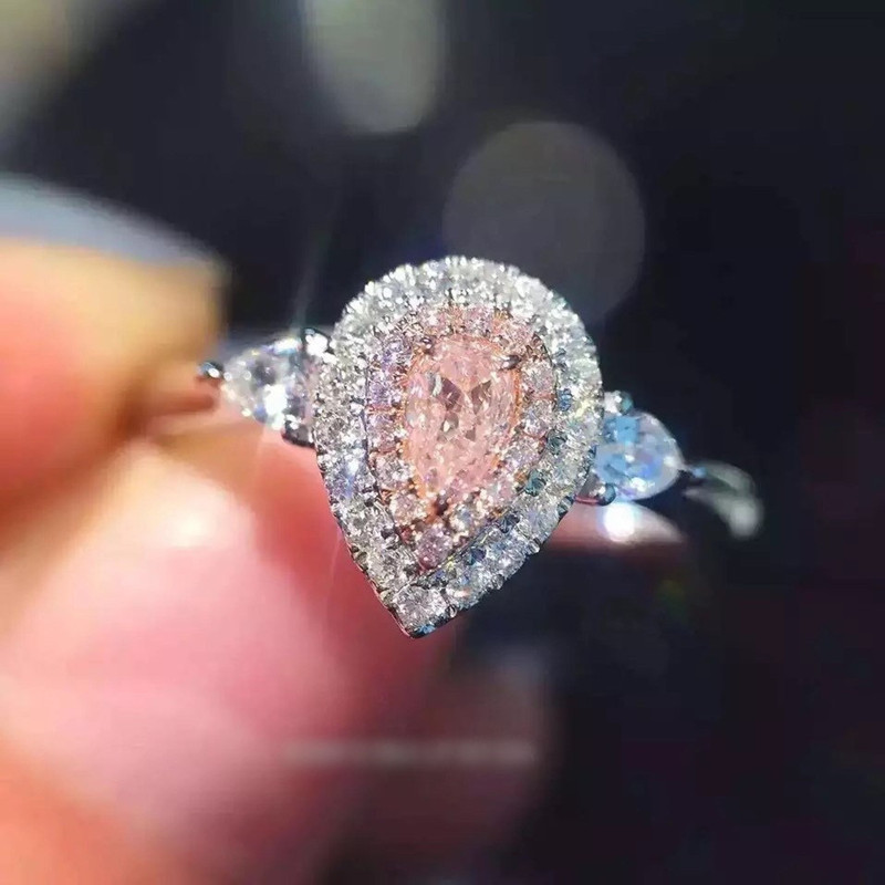 Fashion jewelry 925 Sterling Silver ring Drop-cut 2ct Diamant Pink 2 Surround Pave setting cz Wedding Band Rings For WomenFashion jewelry 925 Sterling Silver ring Drop-cut 2ct Diamant Pink 2 Surround Pave setting cz Wedding Band Rings For Women
