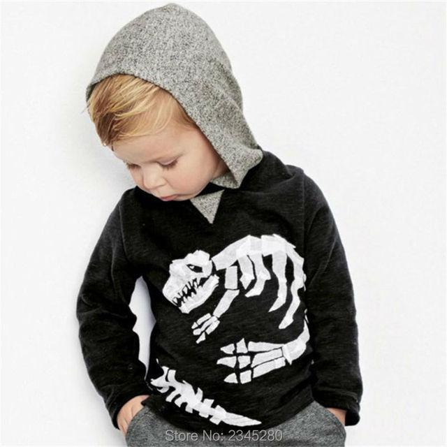 Para Meninos Com Capuz T-shirt da Camisola Tops Roupas de Outono Inverno Novo Fóssil de Dinossauro Impressão Próxima Marca Completo Manga Roupa Dos Miúdos