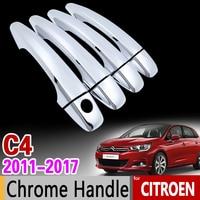 For Citroen C4 MK2 2011 2017 Chrome Handle Cover Trim Set C4L 2012 2013 2014 2015