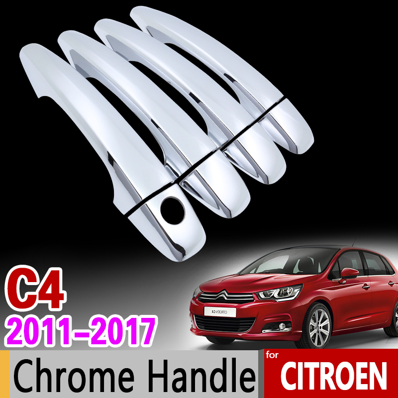for Citroen C4 MK2 2011-2017 Chrome Handle Cover Trim Set C4L 2012 2013 2014 2015 2016 Car Accessories Stickers Car Styling chrome plated modern handle c c 192mm l 218mm h 23mm drawers cabinets