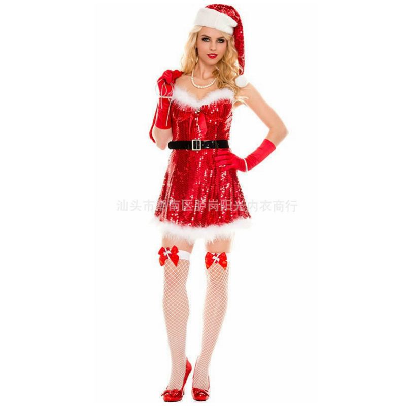 aliexpresscom buy sequin sexy christmas costumes women christmas dress woman sexy santa costumes for women sexy lingerie hot santa claus suit from