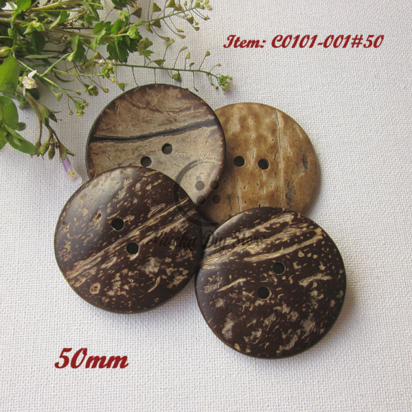 Big <font><b>buttons</b></font> 30pcs <font><b>50mm</b></font> coconut <font><b>buttons</b></font> for craft decorative scrapbooking accessories wholesale 2 holes image