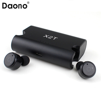 DAONO Portable True Wireless Earbuds TWS X2T Mini Headphone Bluetooth 4.2 Earphone 1500mAH Charger Box