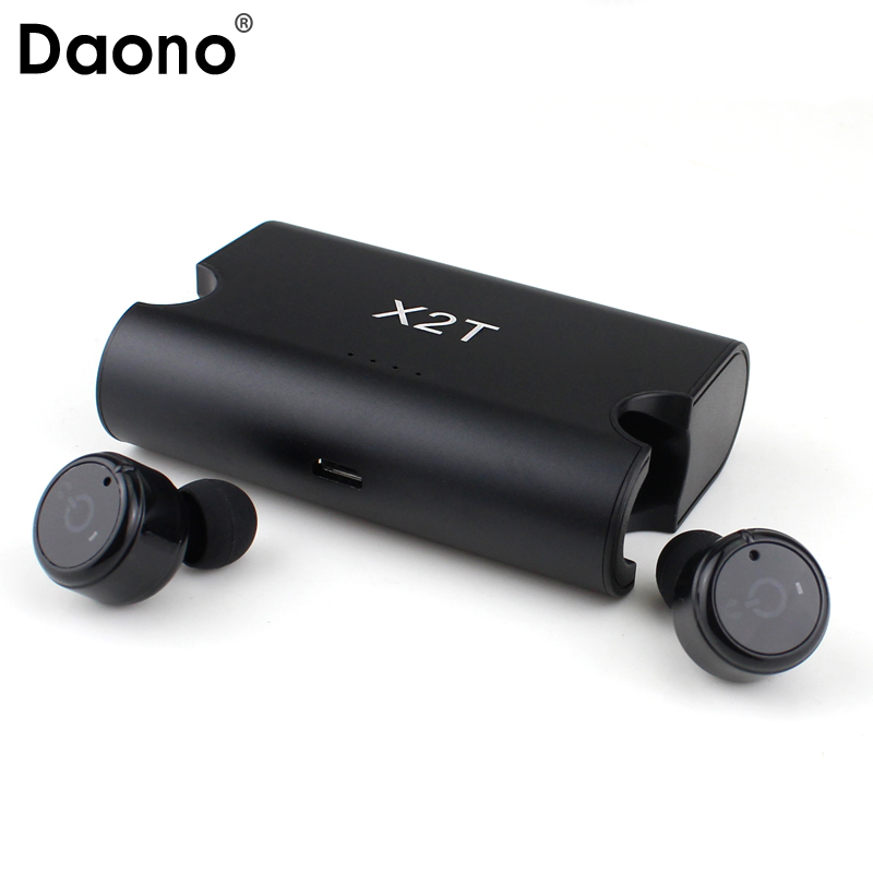 DAONO Portable True Wireless Earbuds TWS X2T Mini Headphone Bluetooth 4.2 Earphone 1500mAH Charger Box