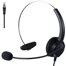 RJ9 Call Center Office Headpones Monaural Customer Service Headphone Noise Reduction Mono Headset with Mic