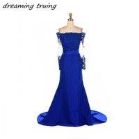 Royal Blue Bridesmaid Dresses Mermaid Long Sleeve Appliques Sequin Junior Wedding Party Dress Maid Of Honor