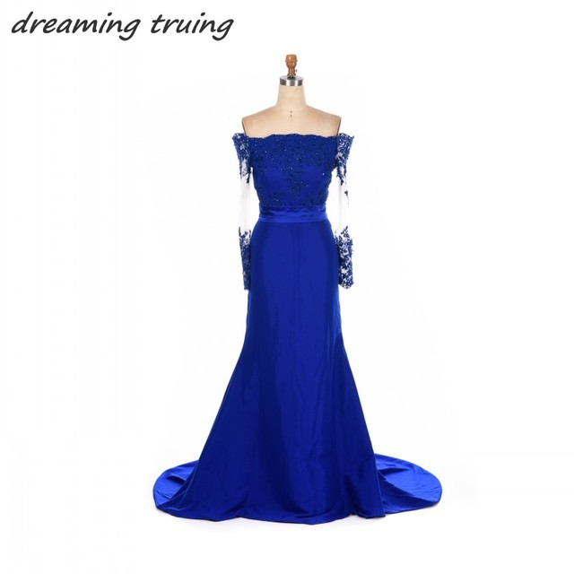 Royal Blue Brautjungfer Kleider Mermaid Long Sleeve Appliques ...