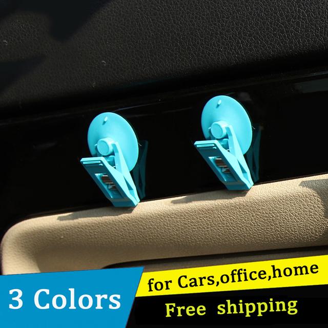 LOEN 2 piezas tapa de succión de coche Clip plástico ventosa soporte extraíble Auto Interior Ventana de montaje para cortina de sol Toalla de billete