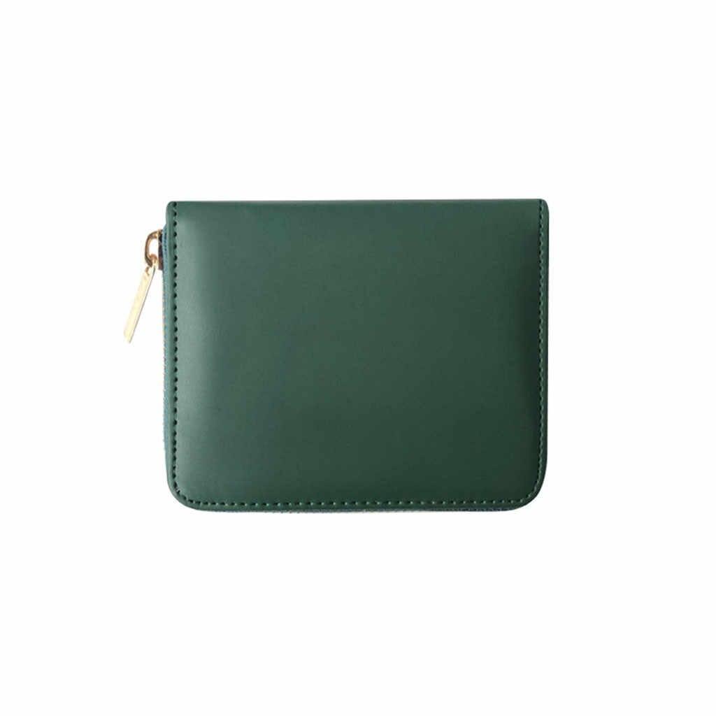 Femmes simple court solide couleur portefeuille mode ID porte-carte de crédit multi-carte sac zipper clip portefeuille carte paquet cartes ensembles W