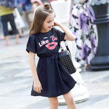 2016 Дети Моды Милые Платья Оптом Детская Одежда для Девочек Красные Губы Дизайн для подростки Возраст 5 6 7 8 9 10 11 12 13 14 Т Лет