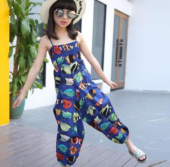 2017 Summer Fashion Girls Pants Girls Jumpsuits Kids Holiday Beach Trousers Printed Wide-legged Children Trousers HW1008