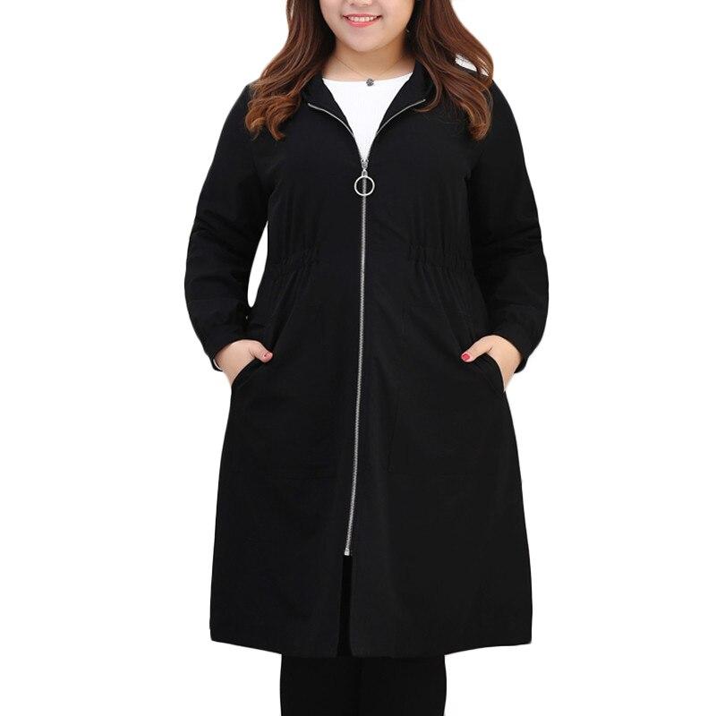 TUHAO Women's Black Hooded Overcoat Large SIZE 10xl 9xl 8xl Women Windbreaker Autumn WINTER Long High Quality   Trench   Coats MS