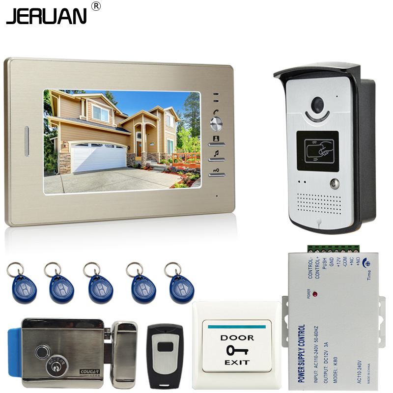 JERUAN 7 inch LCD Screen Video DoorPhone Intercom System 1 Monitor + 700TVL RFID Access Camera + E-lock FREE SHIPPING brand new 7 inch color screen video doorphone sperakerphone intercom system 1 monitor 700tvl coms camera free shipping