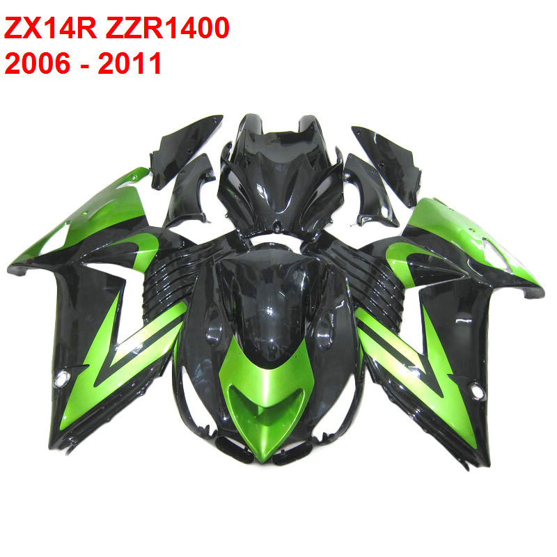 Custom fairings For Kawasaki ZX14R ZZR1400 Ninja 2006 2007 Injection molded green Fairing kit xl24