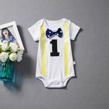 4bfbace015cb Newborn Baby Boy Clothes White Baby Rompers Jumpsuit Suspenders Bow Tie  Little Gentleman Suit 1 Year