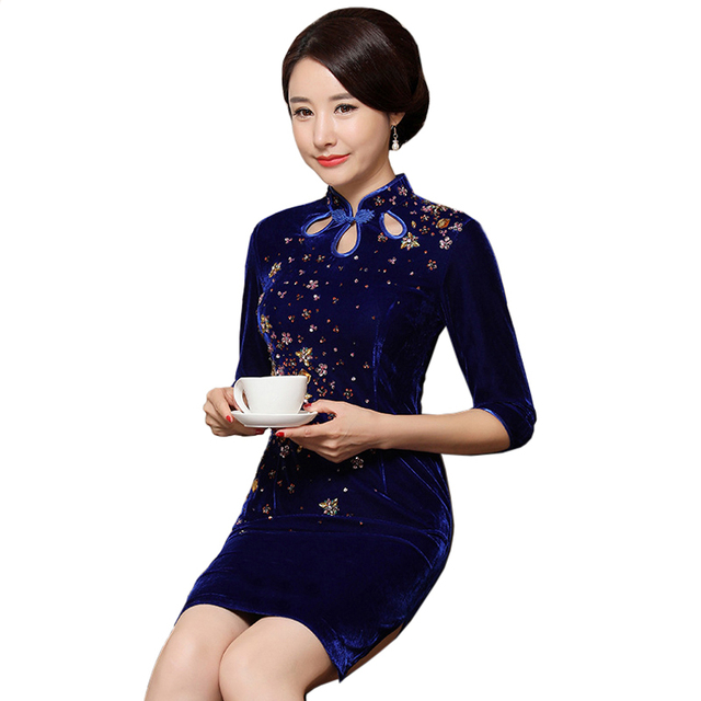 e1e2798f4 Navy Blue Velvet Rhinestone Women Cheongsam Elegant Mandarin Collar Chinese  Novelty Dress Slim Knee-Length Qipao S-4XL