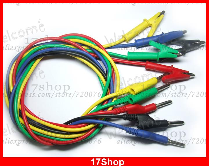 5 High Voltage Cable Test clip Alligator TO Banana Plug sale 20 pcs silicone voltage cable test alligator clips to 4mm banana plug