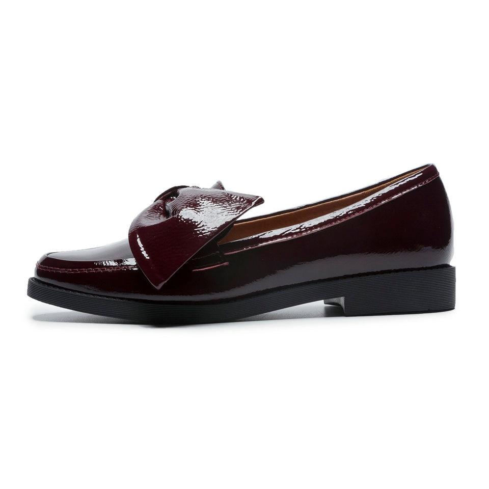 a7d1d48bfbe08d 40 Red Bout Appartements Cuir Verni zao Papillon noir Femmes De Noir Talon  Plat Pu Dames Rond Chaussures ...