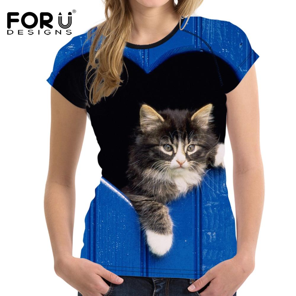 Forudesigns schwarz 3d cat tier casual sommer frauen t-shirt crop - Damenbekleidung - Foto 5