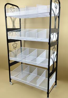 Multilayer cosmetics display shelf. Small boutique shelves. Ground receive a shelf