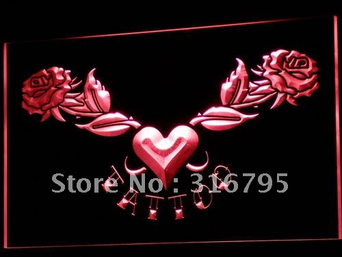 i703 Tattoo Heart Rose Love Open LED Neon Light Sign On/Off Swtich 20+ Colors 5 Sizes