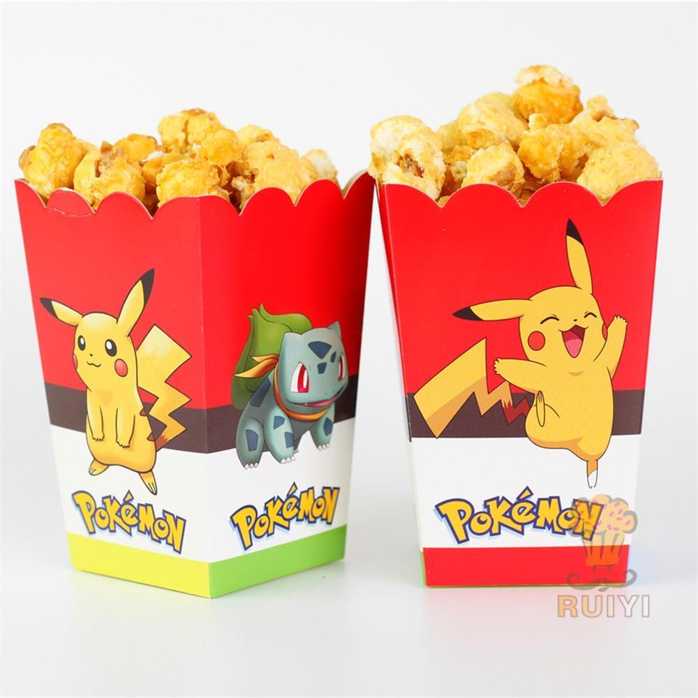 6pcs/lot cartoon pokemon go Pikachu Kids Party Supply Popcorn Box case Gift Box Favor Accessory Birthday Party Supplies AW-0562