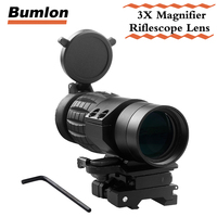 Tactical QD FTS 3X Magnifier Rifle Scope With Flip To Side Mounts Fits For 551 552