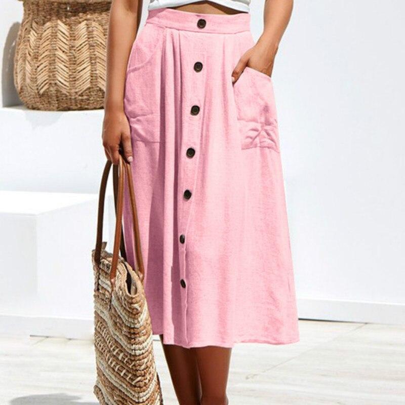 Heerlijk Chic A-lijn Casual Rokken Boho Knoppen Zomer Strand Meisjes Rokken 2019 Vrouwen Elegante Decoratie Pocket Roze Rok Plus Size M0430 Duidelijke Textuur
