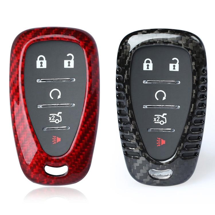 Carbon Fiber Car Remote Key Case Fob Shell Cover for Chevrolet Camaro Cruze Volt Spark Bolt