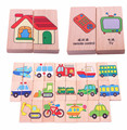 Baby Toys 28Pcs Vechile/Animal/Solitaire Domino Multicolor Educatinal Building Blocks Wooden Toys Child Birthday Gift