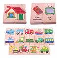 Juguetes para bebés de 28 unids Vechile / Animal / dominó solitario Multicolor Educatinal Building Blocks juguetes de madera regalo de cumpleaños del niño