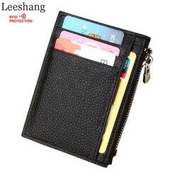 Leeshang porte carte femme rfid wallet genuine leather woman wallet slim zip small wallet mini coin.jpg 250x250