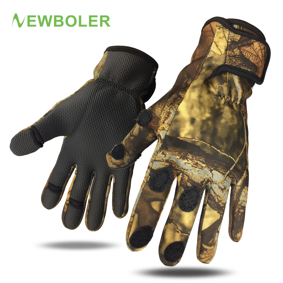NEWBOLER Hunting Fishing Gloves Palm Waterproof Non-slip Leather Full/Half Finger High-quality 3D Camouflage Glove Winter