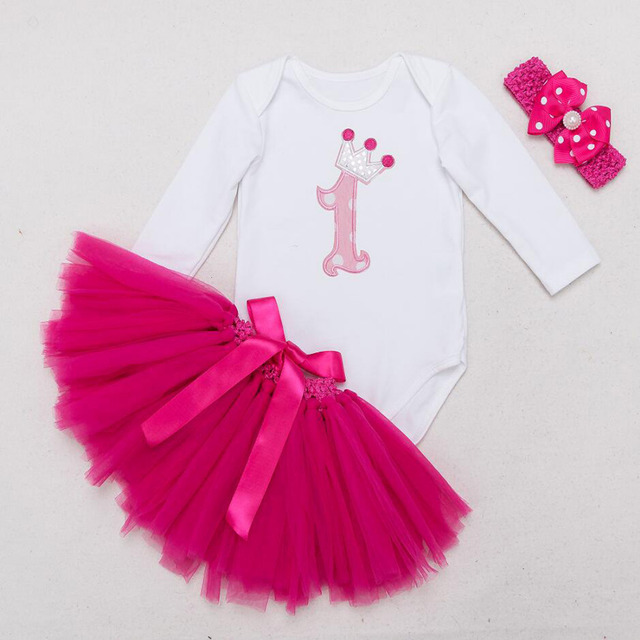 96cac9aa95d2 3PCs per Set Long Sleeves Baby Girl 1st Birthday Dress Crown Party Outfit  Romper Bubble Skirt Headband
