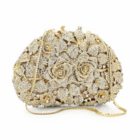 Rose Hot Sale Women Purse Bag Gold Chain Rhinestone Crystal Clutch Evening Bag Floral Pattern Pakistani