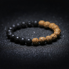 Natrual Lava Rock Stone Cedar Rudraksha Seed  Strand Bracelet Prayer Mala Tasbih Rustic Mans  Jewelry Tibetan Buddhism Inspire