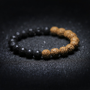 Image 1 - Natrual Lava Rock Stone Cedar Rudraksha Seed  Strand Bracelet Prayer Mala Tasbih Rustic Mans  Jewelry Tibetan Buddhism Inspire