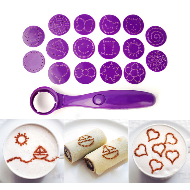 New Magic Spice Spoon Food Decorating Tools 16 Different Images Decor Coffee Cake Foods Piping Spoons Funning Kitchen