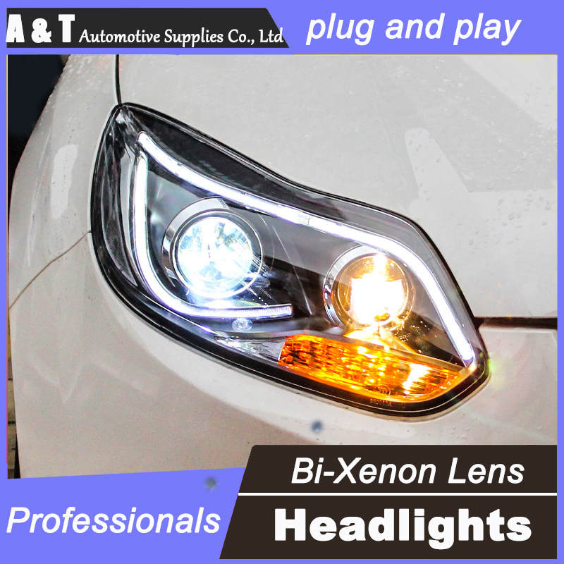 car styling For Ford Focus headlight assembly U angel eyes 2012 For Focus bi xenon lens h7 with hid kit 2 pcs.