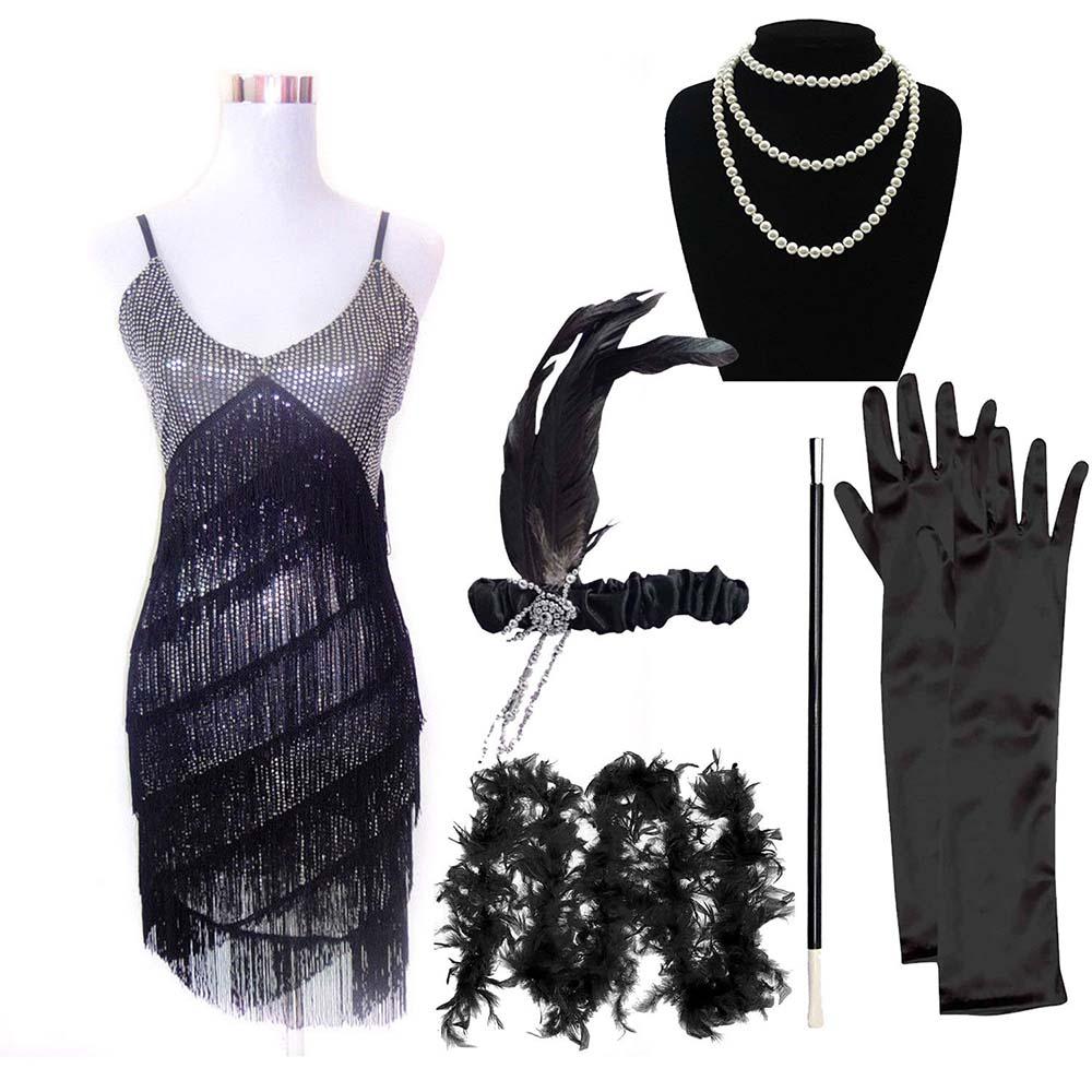 Noir femme années 1920 Clapet Court Bob perruque robe fantaisie Great Gatsby POULE Thème